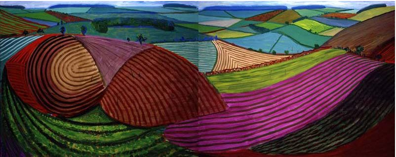 Double East Yorkshire, 1998 oil on 2 canvases 60 x 152 in. overall