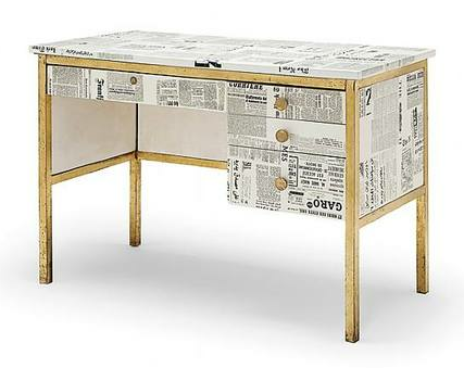 'Giornali' A Unique Lithographically and Transfer-Printed Wood and Brass Desk By Piero Fornasetti, circa 1950s